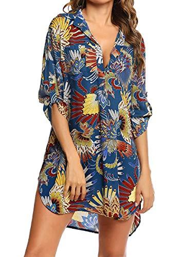 Copricostume Donna Copribikini Costume da Bagno Camicia Maniche a 3/4 Chiffon Camicia Bluse Cover Up Scollato V Abito da Spiaggia Mare Pareo Copri Tunica Beachwear Allentato Spiaggia Bikini Cover Up
