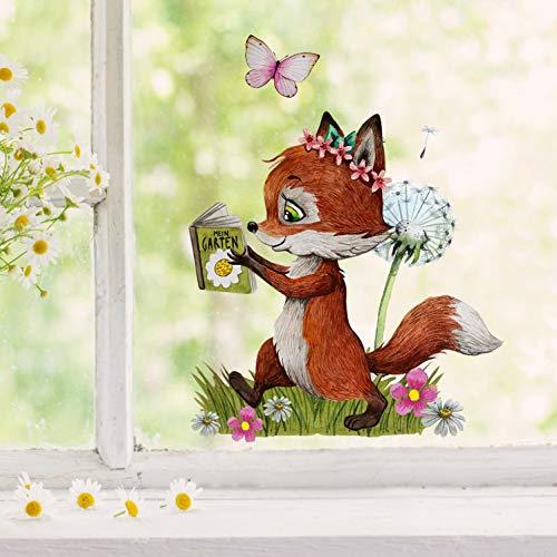 Fensterbilder Fensterbild Fuchs Hase Otter Pusteblume Angel Buch wiederverwendbar Fensterdeko Frühling bf35 - ausgewählte Farbe: *bunt* ausgewählte Größe: *12. Fuchs mit Buch*