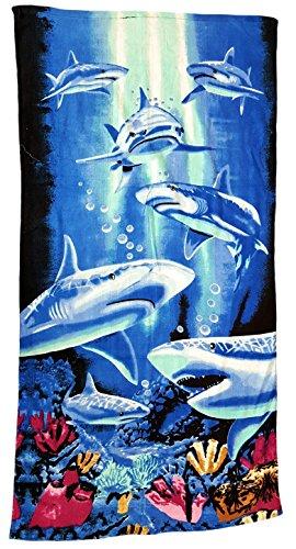 Ilkadim Strandtuch 70x140cm, Handtuch für Kinder und Erwachsene, Badetuch 100% Baumwolle (blau weiß Haie)
