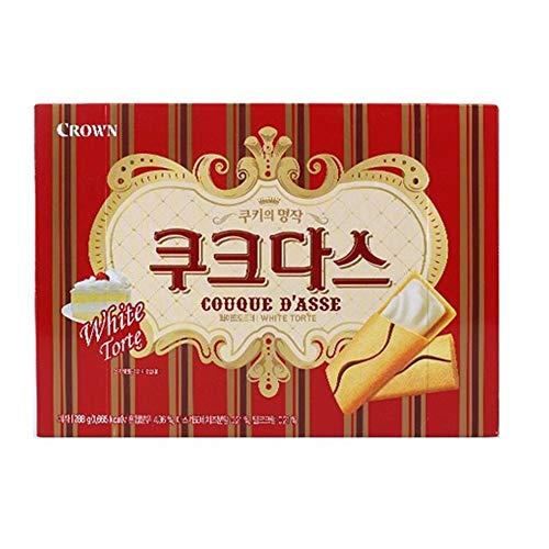 Crown Couque D'asse White Torte | 288g | Korean Snack, Rich White Torte Flavor, Korean Langue de Chat Cookies with Filling, 쿠크다스 화이트 토르테