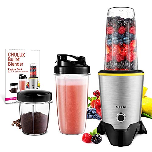 CHULUX Smoothie Bullet Blender Maker with Recipe Book, 1000W High Speed Coffee Grinder with Blending & Grinding Blades, Low Noise, Tritan 32+15 OZ Travel Bottles for Frozen Fruit, Baby Food, Spices