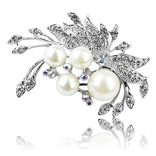 Guangcailun Forma de Las Mujeres Pluma de Cristal Broche de la Hoja joyería Perla con Incrustaciones de Breastpin Ropa de Las Muchachas de la decoración