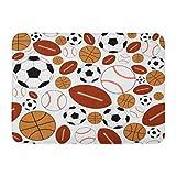 N\A Alfombra de baño Collage Fun Dynamic Sports Balls Designs Fans Football Baño Decoración Alfombra