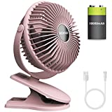 BESKAR 10000mAh Rechargeable Clip on Fan - 6 Inch Battery Operated Stroller Fan with 36Hrs Long Working Time, 3 Speeds & Sturdy Clamp, Quiet Operation USB Fan for Golf Cart Camping Baby Car Desktop