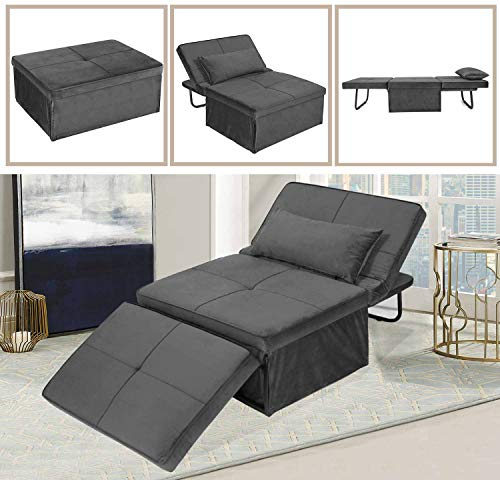 LANLINCO Ottoman Sleeper Folding Convertible Sofa Bed - 4 in 1 Multi-Function Adjustable Futon Couch for Small Spaces - Modern Chaise Lounge/Recliner Chair/Guest Bed, Velvet Dark Grey