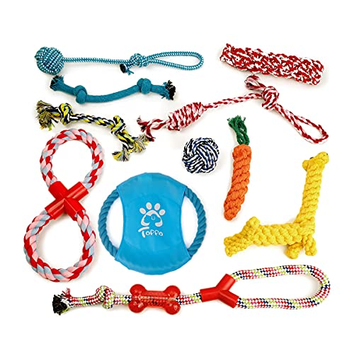 Dog Rope Toy Durable Dog Chew Toys Natural Cotton & Non-Toxic Tough Pet Rope Toys for Small Medium Large Dogs Set of 11 (Style01)