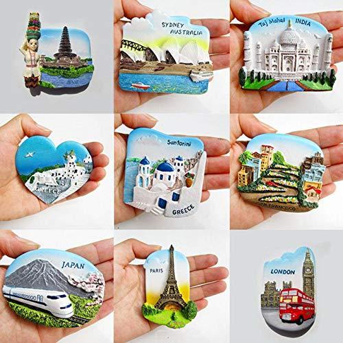 xunlei Kühlschrankmagnete 1pc 3D Fridge Magnet San Francisco London Paris Japan Greece Sydney Bali Souvenir Random Style