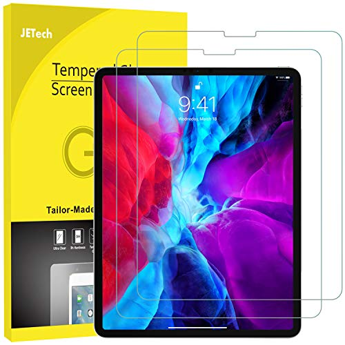 JETech 2-Pack Screen Protector for iPad Pro 12.9-Inch (2020 and 2018 Release Edge to Edge Liquid Retina Display), Face ID Compatible, Tempered Glass Film