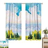Patrón de cortinas Colección de decoración de apartamentos, paisaje pastoral de otoño con pradera y nubes mullidas en pintura rural del norte, azul blanco verde, cortinas sólidas para habitaciones con