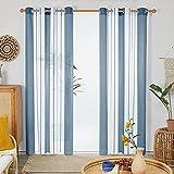 Deconovo Cortinas Dormitorio, Visillos para Habitación Salón, Diseño Moderno, con Ojales, 140x245cm(Ancho x Alto), Azul Oscuro, 2 Piezas