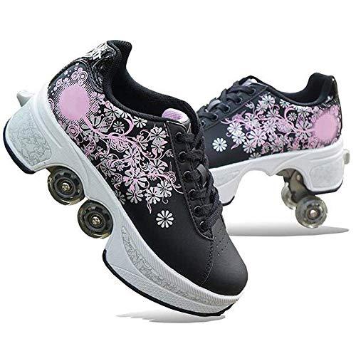 Wedsf Deformation Schuhe 2 in 1 Deformation Roller Kinder Studenten Skateboard Skating Turnschuhe Rädern Einstellbare Laufschuhe Sneakers,36