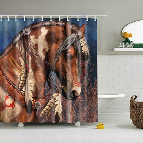 Fansu Duschvorhang Anti-Schimmel, 3D Drucken 100prozent Polyester Bad Vorhang Wasserdicht Anti-Bakteriell mit C-Form Kunststoff Haken mit 12 Ringe für Badzimmer (Braunes Pferd,90x180cm)