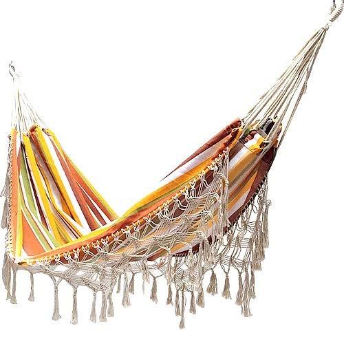 L.J.JZDY Piscine 2 Personne Hamac Boho Grand Brésilien macramé Fringe Double Net Chaise Hanging Intérieur Balançoires Hamac (Color : 01)