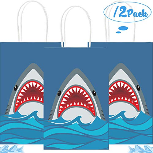 Funnlot Shark Party Bags Shark Birthday Party Supplies 12PCS Shark Goodie Bags Shark Gift Bags Shark Party Favor Bags for Shark Party Kids Birthday PartyDecorations