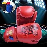 Guantes Boxeo niño 6oz Junior Boxing Gloves Vendas de Boxeo Wolf Head 3 a 10 años Muay Thai Taekwondo Sanda Fight
