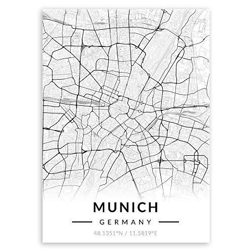 Murrano Poster Wandbilder Deko Wohnzimmer - Weltstädte - zur Selbstmontage mithilfe eines Magnets montiert - aus Metall - Schwarz-weiß - Munich - 45 x 32 cm