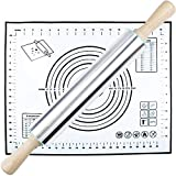 Rolling Pin and Silicone Pastry Mat Set,Stainless Steel Rolling Pin for Baking...