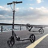 キックボード キックスクーター 子供 大人用 折り畳み式 ハンド/フットブレーキ 3段階高さ調節可能 8インチホイール 立ち乗り式二輪車 耐荷重150kg 持ち運び便利 日本語説明書 (ブラック)