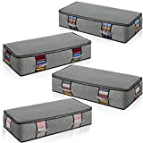 Under Bed Storage Foldable Container [4-pack] Underbed Storage Bins with Strong Handle and Metal Zipper Clear Window Thick Fabric Grey Color