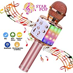 【4 in 1 Karaoke Microphone】Portable hand-held wireless microphones can be used as microphone, Bluetooth speaker, loudspeaker, recorder. Mini home KTV for music playing and singing at any time. 【Quality Audio Sound and High compatibility】Professional ...