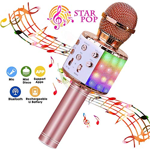 Bluetooth Karaoke Microphone with LED Lights