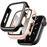 Lovrug 2 Pack Cases Compatible with Apple Watch Case 40mm SE/Series 6/5/4 Built in Tempered Glass Screen Protector Ultra-Thin Bumper Full Coverage iWatch Protective Cover for Women Men (Pink/Black)