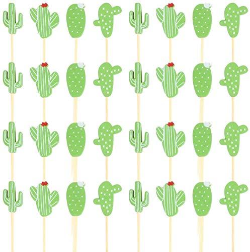 FLZONE Kaktus Cocktail-Sticks,100 Stück Cocktailspieße Bambusspieße für Cocktails Vorspeisen Früchte Desserts Partyzubehör Obstspieß
