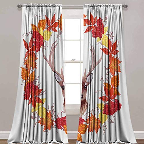 Fall Blackout Curtains,Reindeer Head in Rounded Floral Wreath Frame Made with Aesthetic Fall Leaves Print Room Darkening Blackout Drapes for Home Decoration,42'x 84',2 Panels,Brown Orange