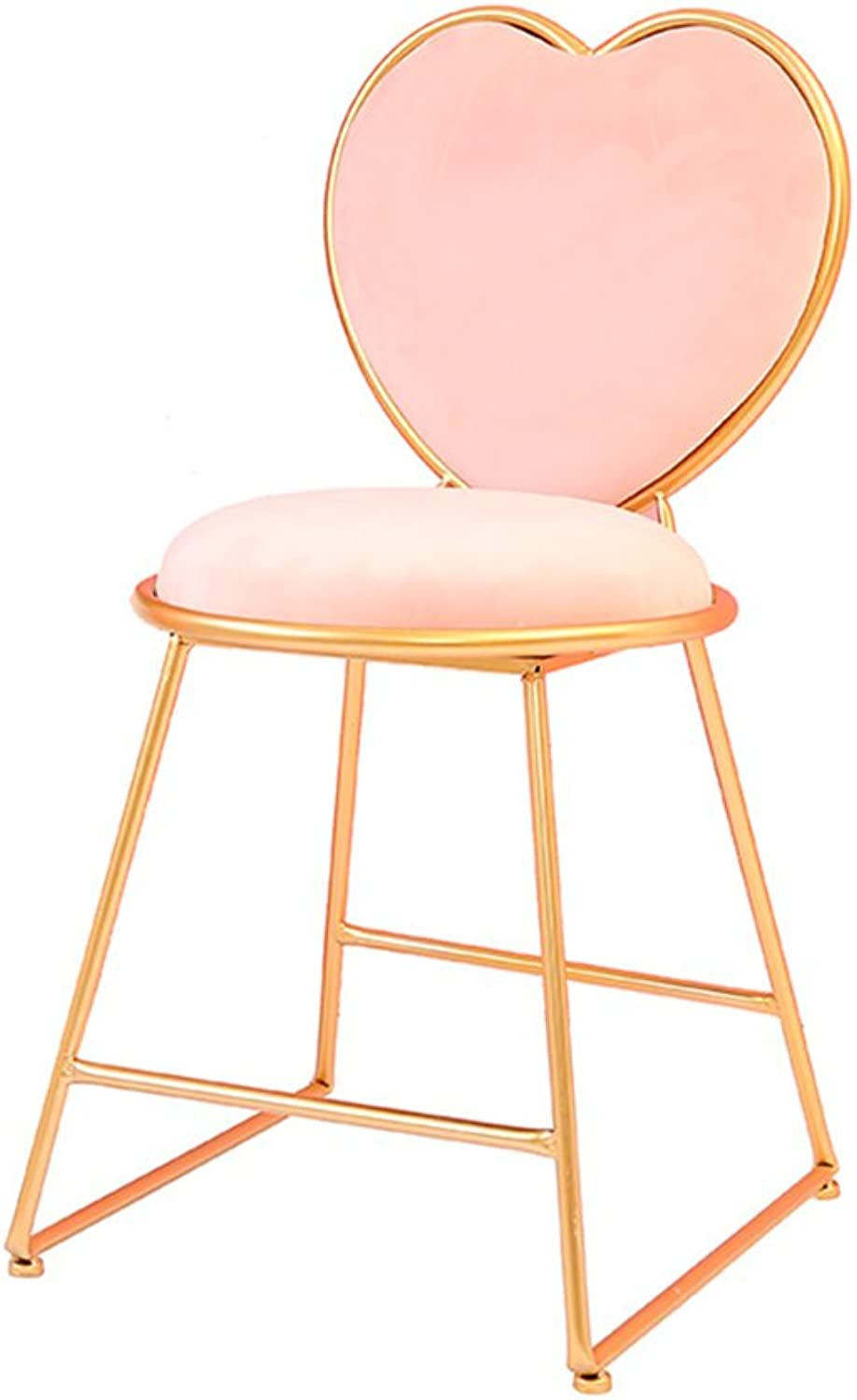 YM Creative Bar Stool, Dressing Table Chair Nail Bench Cafe Restaurant Wrought Iron Armchair Heart Shaped Decorative Chair 40  40  80CM