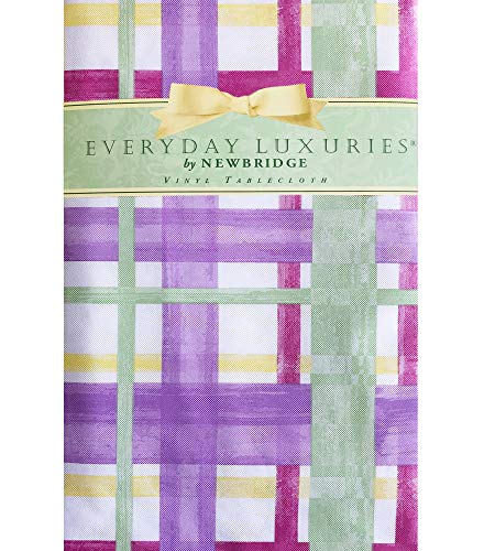 """Newbridge Watercolor Easter Plaid Print Vinyl Flannel Backed Tablecloth - Lavender, Green and Yellow Contemporary Pastel Spring Plaid Indoor/Outdoor Print Tablecloth - 60"""" x 84"""" Oval"""