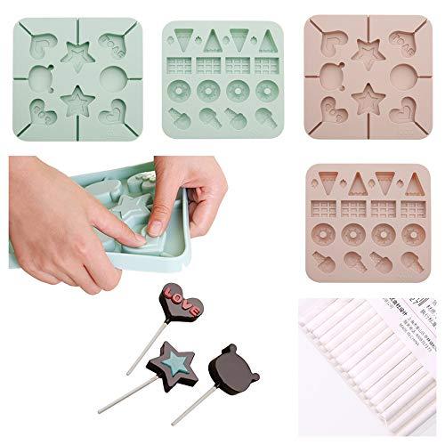 4 juegos de herramientas para hornear, DIY molde de silicona piruleta (con 50 palos), molde de chocolate en forma de flor, lindo molde de fondant