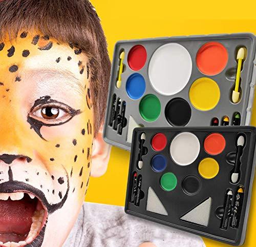 Phil Beauty Pintura Corporal Kit De Maquillaje De Pigmento Pintura Facial para Niños Fiesta De Halloween Pintura Corporal Maquillaje Colorido Pintura Facial, 2 Cajas