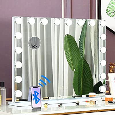COOLJEEN Hollywood Mirror with 18pcs LED Large Makeup Mirror Lighting Cosmetic Mirror 3 Color Lighting Modes Tabletop or Wallmount Vanity Slim Makeup Mirror with USB Charging Port & Bluetooth(White)