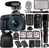 Canon EOS 5D Mark IV DSLR Camera w/EF 24-70mm f/2.8L II USM Lens +Canon EF 75-300mm+ Rode VideoMic Pro Plus + Professional Bi-Color LED Video Light & Accessories
