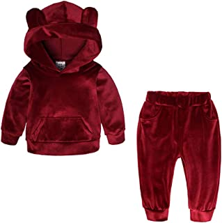 Kids Baby Boys Girls Solid 2 Piece Sweatsuit Tracksuits Velvet Clothes Set Outfit Pullover Hoodie Sweatpant