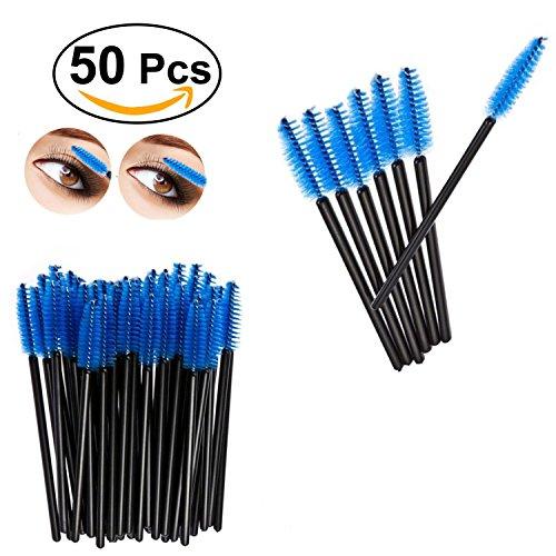Lumanuby 50x Brosse de Cils Outil Maquillage Visage Yeux Mascara Maquillage Pinceau pour les Yeux-Bleu