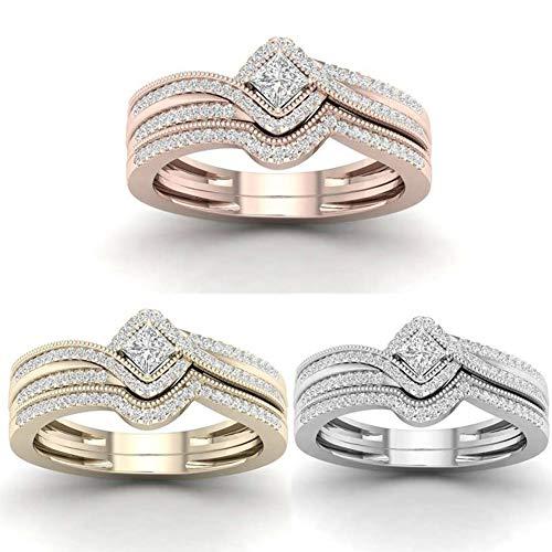 Profusion Circle - Anillo de Compromiso para Mujer con Incrustaciones de Diamantes de imitación, Color Blanco US 9