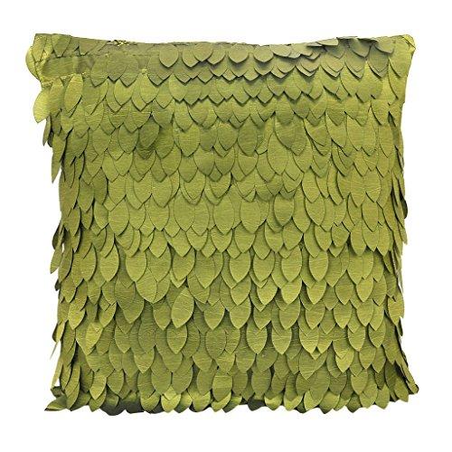 Senmubery 1 funda de almohada de satén con patrón de hojas para sofá, cojín de coche, almohada de cama, 43 x 43 cm, color verde oliva
