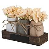 KINETICS Mason Jar Dining Table Centerpiece with Blackboard Label – Ideal for Dining Room Table, Kitchen, Living Room or Coffee Table Décor – Wooden Tray & Beautiful Flowers Decoration