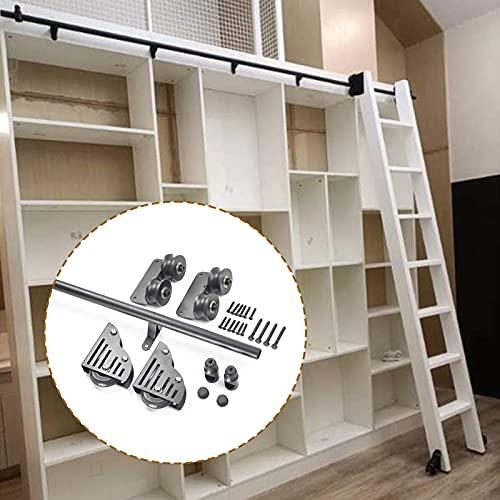 Kit de herrajes para puertas corredizas de granero de 3.3 ft a 20 ft, juego completo rodamientos de tubo redondo, riel escalera móvil para biblioteca/loft/hogar/interior/librería piso (sin escalera)