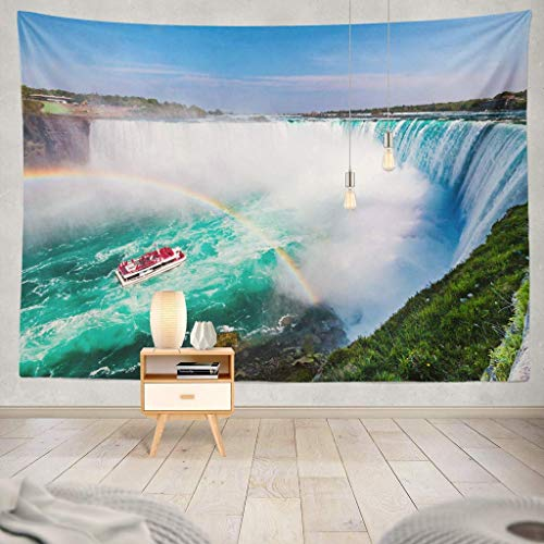 Duanrest Wandteppich,Tour Boot Wasserfall Regenbogen Toronto Regenbogen Kanadische Landschaft Boot Kanada American America Awesome Wandteppich für zu Hause 229x152cm
