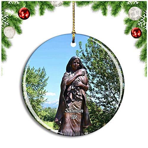 Weekino Salmon Sacajawea Interpretive Idaho USA Christmas Ornament Xmas Tree Decoration Hanging Pendant Travel Souvenir Collection Double Sided Porcelain 2.85 Inch