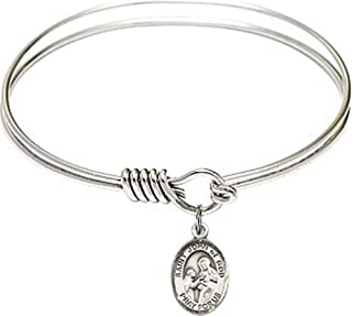 Rhodium Plate Round Eye Hook Twist Bangle Bracelet with Catholic Saint Petite Charm, 6 1/4 Inch