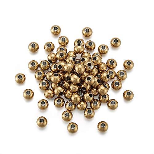 Craftdady - 100 perline rotonde in metallo da 6 mm, in acciaio inox, per creare gioielli, foro da 2 mm