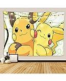 NIU Pokemon Tapisserie Meilleurs Enfants Anniversaire Cadeau, Toile de Fond Pokemon pour la fête de Dessin animé Anime Hanging Art pour Chambre à Coucher Salon Salon College Dorm Home Decor