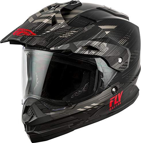 FLY Racing Trekker Solid Helmet, Full-Face Motorcycle Helmet for Men and Women (Matte, Black/Grey/RED Large)