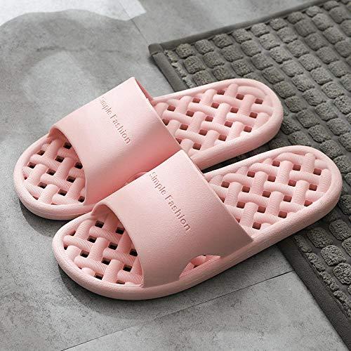 HUSHUI Zapatillas Antideslizantes Super Suaves y Gruesas, Sandalias en baño de Hotel-Pink_40-41
