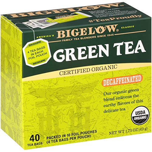 Bigelow Decaffeinated Organic Green Tea 40-Count Boxes (Pack of 6), 240 Tea Bags Total. Decaffeinated Individual Green Tea Bags, for Hot Tea or Iced Tea, Drink Plain or Sweetened with Honey or Sugar