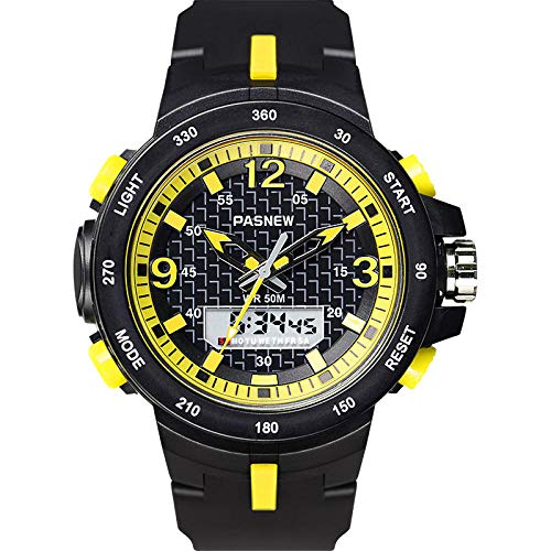 TWCAM Acero Cuero Pulsera Hombre- Reloj Electrónico Reloj Deportivo para Hombres Multifunción Impermeable Al Aire Libre Funcionamiento Luminoso, Amarillo Negro