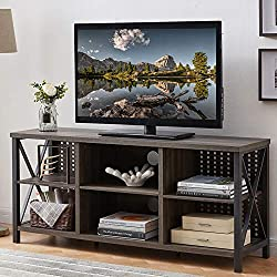 Shelves and Cable Management Simplify Your Life: This mid century TV stand is designed for simplifying your life. Its 4 open shelves on the side are the perfect perch for books and games, and open middle shelves can easily hold a media console or cab...